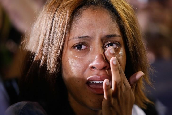 crying sad black woman