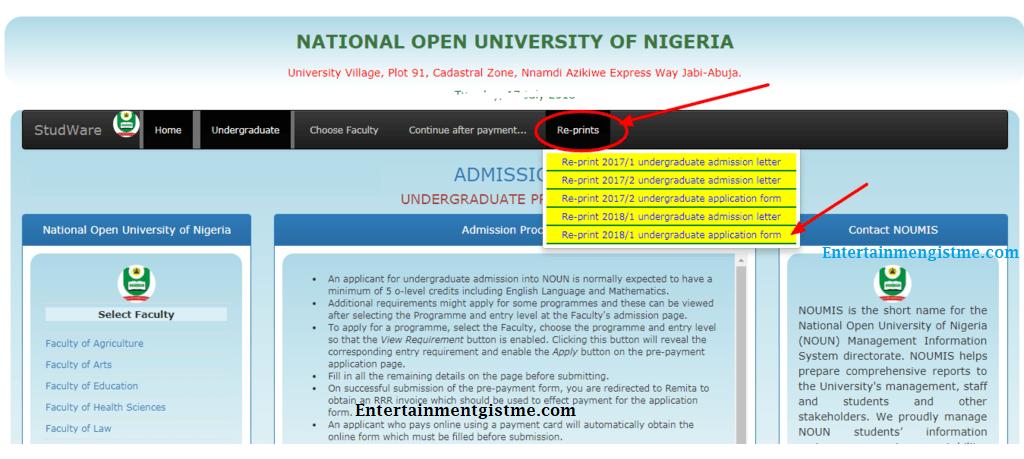 noun admission letter